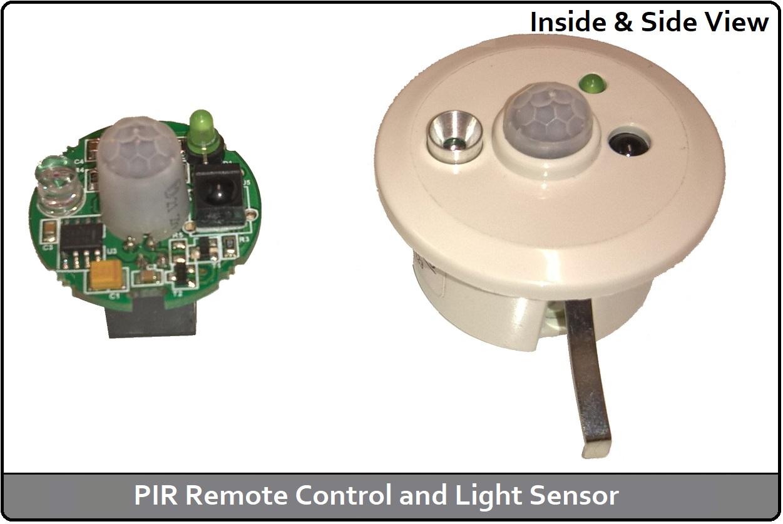 PIR Remote Control & Light Sensor (Inside and Side View)